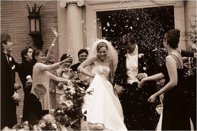 Celebration of the newly married couple as they leave the church